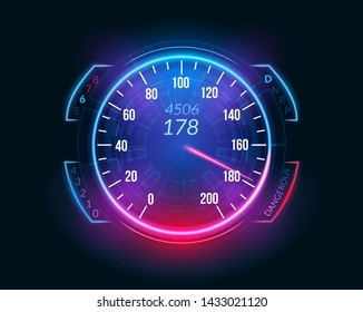 Speedometer speed car auto dashboard design. Speed meter abstract technology drive panel.
