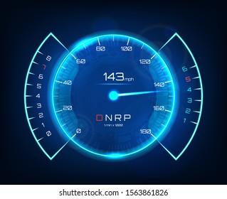 Speedometer speed car, Vector  auto dashboard  design. Futuristic neon speedometer. Template Automotive Dashboard. Vector illustration Tachometer