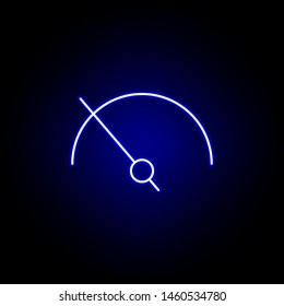 speedometer speed time clock icon in blue neon style.. Elements of time illustration icon. Signs, symbols can be used for web, logo, mobile app, UI, UX