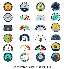 Speedometer symbols. Level fuel rating indication score graph guage vector pictures set