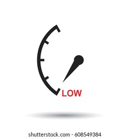 Speedometer, tachometer, fuel low level icon. Flat vector illustration on white background