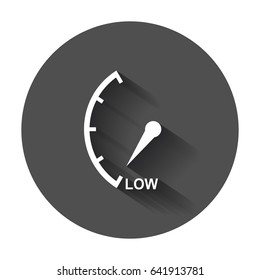 Speedometer, tachometer, fuel low level icon. Flat vector illustration with long shadow.