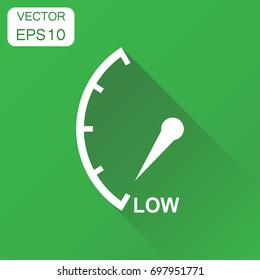 Speedometer, tachometer, fuel low level icon. Business concept low level rating pictogram. Vector illustration on green background with long shadow.