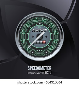 Speedometer. Tachometer. Realistic vector. Black background