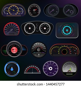 Speedometer vector car speed dashboard panel and speed-up power measurement design illustration set of speed-limit control technology with arrow or pointer isolated on background