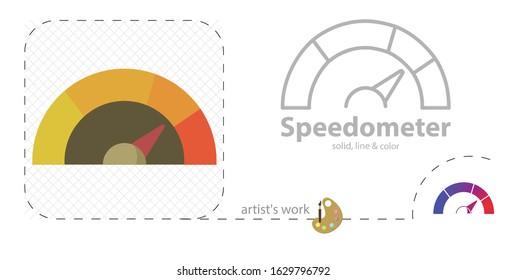 Speedometer vector flat illustration, solid, line icon