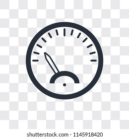 Speedometer vector icon isolated on transparent background, Speedometer logo concept