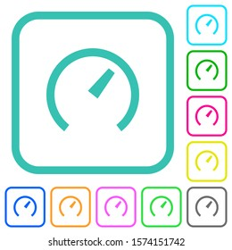 Speedometer vivid colored flat icons in curved borders on white background