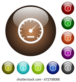 Speedometer white icons on round color glass buttons