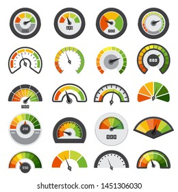 Speedometers collection. Symbols of speed score measuring tachometer level indices vector collection. Illustration of speedometer indicator, speed meter measurement