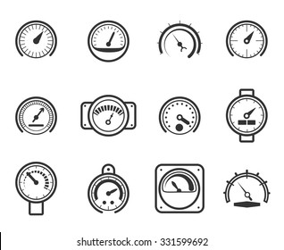 Speedometers, manometers, tachometers and barometers in linear design style. Vector meter icons set. Indicator and measurement, meter and power, level gauge illustration