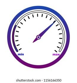 Speedometr, odometer isolated icon on white background, auto service,, vetcor, speedometer icon, speed icon