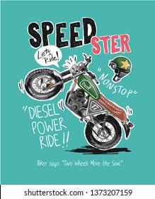 speedster slogan with cartoon motorcycle and helmet illustration