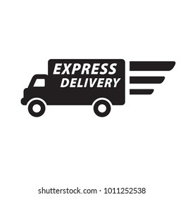 Speedy Express Delivery wagon sign, icon, label. Vector illustration