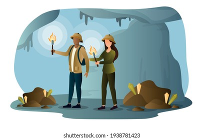 Speleologists is exploring huge underground cave with the flame of torch. Flat abstract metaphor outline cartoon vector illustration concept design. Simple art isolated on white background.