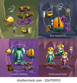 Speleologists team cave surveying in protective clothing 4 3d icons square composition banner abstract vector isolated illustration