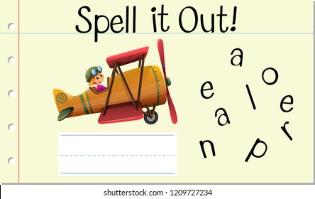 Spell English word aeroplane illustration