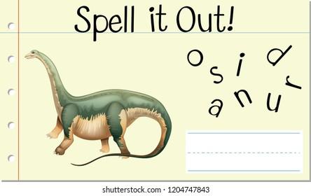 Spell English word dinosaur illustration
