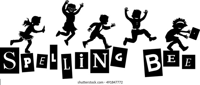 Spelling bee title design with schoolchildren jumping on letters, EPS 8 vector silhouettte, no white objects