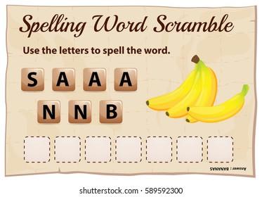 Spelling scramble game template for bananas illustration