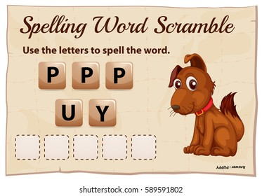 Spelling scramble game template for puppy illustration