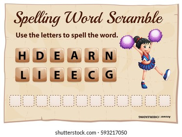 Spelling word game with word cheerleading illustration
