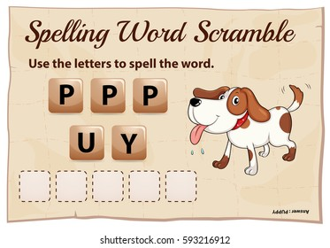 Spelling word game with word puppy illustration