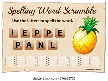 Spelling word scrable game with word pineapple illustration