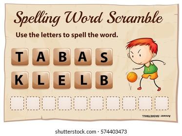 Spelling word scramble for word  basketball illustration