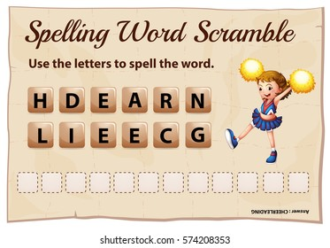 Spelling word scramble for word cheerleading illustration