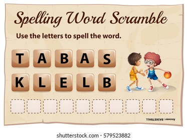 Spelling word scramble game with word basketball illustration