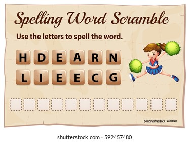 Spelling word scramble game with word cheerleading illustration