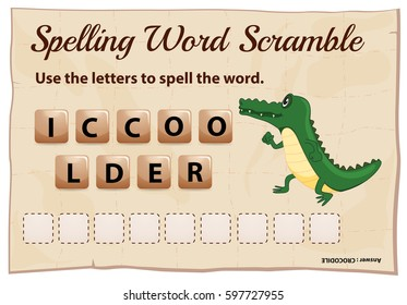 Spelling word scramble game for word crocodile illustration