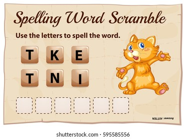 Spelling word scramble game with word  kitten illustration