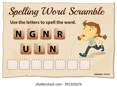 Spelling word scramble game with word running illustration
