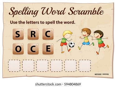 Spelling word scramble game with word soccer illustration