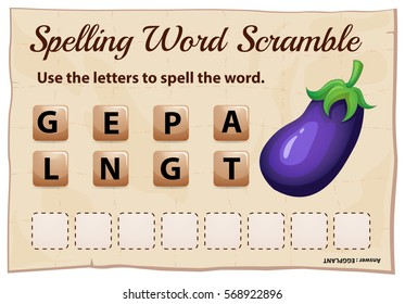 Spelling word scramble game template with word eggplant illustration
