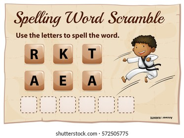 Spelling word scramble game template with word karate illustration