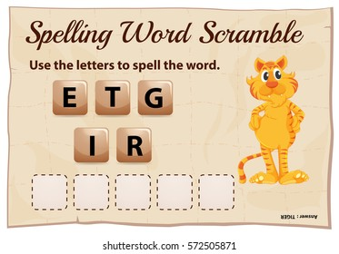 Spelling word scramble game template with word tiger illustration