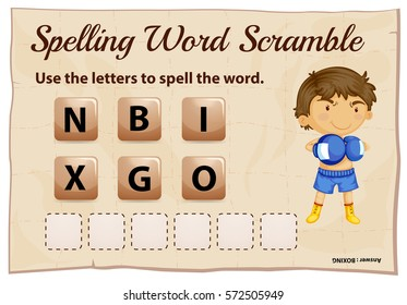 Spelling word scramble game template with word boxing illustration