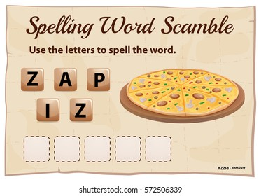 Spelling word scramble game template with word pizza illustration