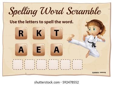 Spelling word scramble for word karate illustration