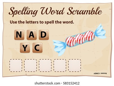 Spelling word scramble template for word candy illustration
