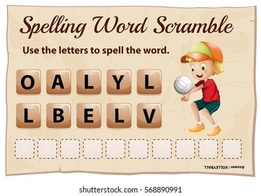 Spelling word scramble template with word volleyball illustration