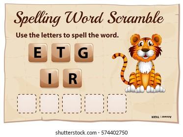 Spelling word scramble for word tiger illustration