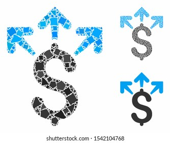 Spend money composition of raggy items in various sizes and color tones, based on spend money icon. Vector rugged items are united into collage. Spend money icons collage with dotted pattern.