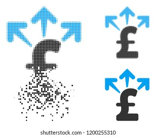 Spend pound money icon in disappearing, pixelated halftone and undamaged solid versions. Points are organized into vector disappearing spend pound money icon. Disappearing effect uses square dots.