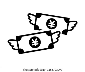 spending money / wasting money / flying money icon (japanese yen / JPY)