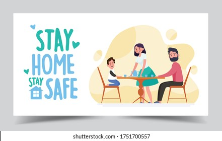 Spent Time with Family Illustration 4. Stay Home Coronavirus. Protect Yourself and Family for Decrease Infection Risk for Prevent Virus Covid-19. Stay Home on Quarantine During Coronavirus Epidemic.