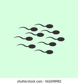 Sperm icon flat. Grey vector symbol on green background